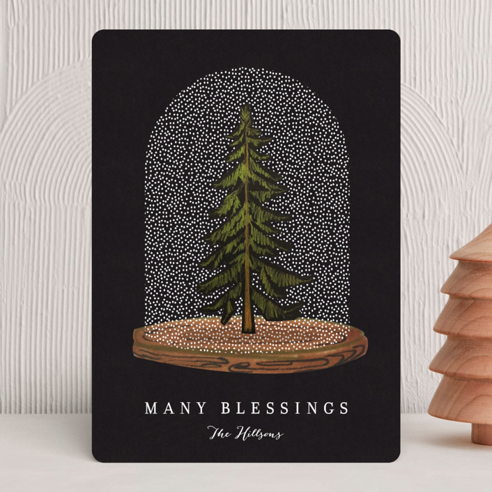 """""""Snow globe Tree"""" - Holiday Cards in Coal by Baumbirdy."""