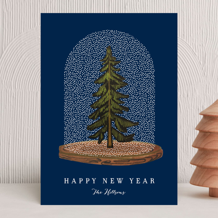 """Snow globe Tree"" - Holiday Cards in Coal by Baumbirdy."