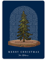 This is a blue non photo holiday card by Baumbirdy called Snow globe Tree with standard printing on signature in standard.