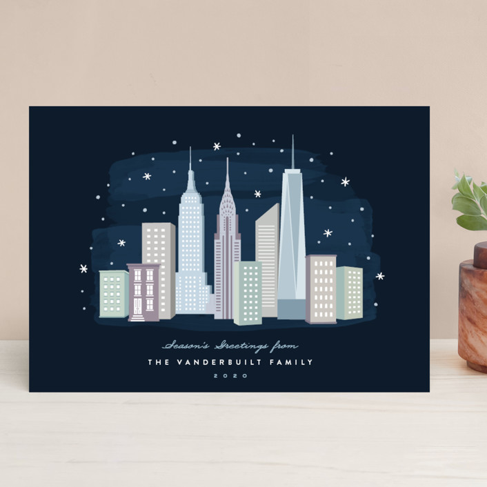 """""""New York City Winter"""" - Holiday Cards in Celestial by Hooray Creative."""