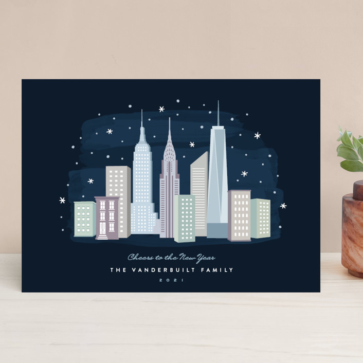 """New York City Winter"" - Holiday Cards in Celestial by Hooray Creative."