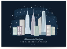 This is a blue non photo holiday card by Hooray Creative called New York City Winter with standard printing on signature in standard.