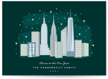 This is a green non photo holiday card by Hooray Creative called New York City Winter with standard printing on signature in standard.