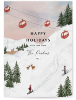 This is a white non photo holiday card by Elly called Ski with standard printing on signature in standard.