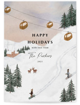 This is a brown non photo holiday card by Elly called Ski with standard printing on signature in standard.