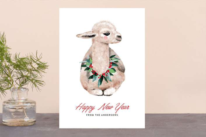"""baby llama"" - Bohemian Holiday Cards in Snow by Cass Loh."