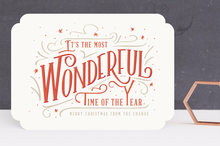"""A wonderful time"" - Vintage Holiday Cards in Cream by Julie Murray."