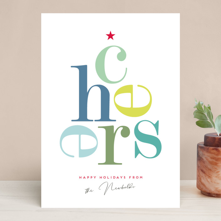 """Cheers"" - Holiday Cards in Winter Green by Eric Clegg."