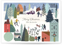 This is a green non photo holiday card by Morgan Ramberg called Holiday Village with standard printing on signature in standard.