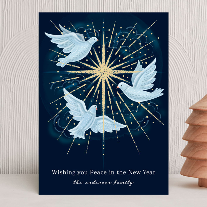 """light of the world"" - Bohemian Holiday Cards in Night Sky by Paper Sun Studio."