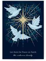 This is a blue non photo holiday card by Paper Sun Studio called light of the world with standard printing on signature in standard.