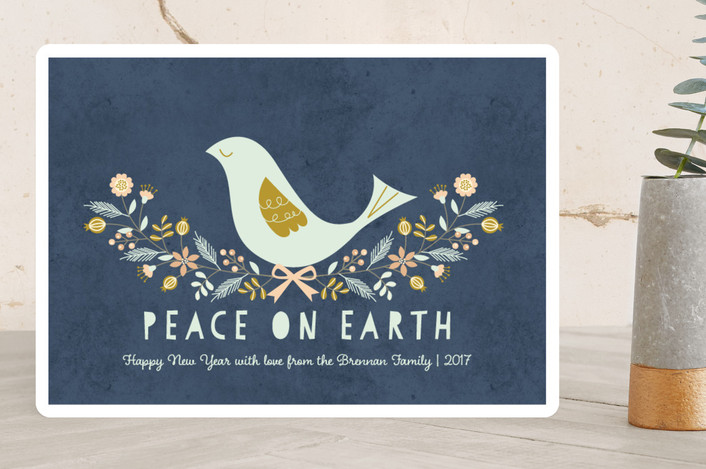 """Nordic Peace Dove"" - Holiday Cards in Midnight Navy by Coco and Ellie Design."