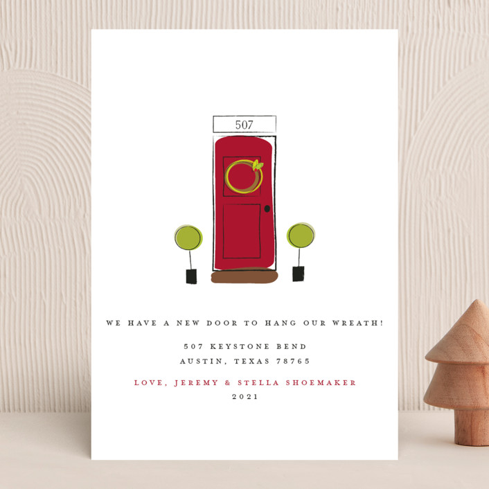 """A New Door"" - Holiday Cards in Cranberry by Fig and Cotton."