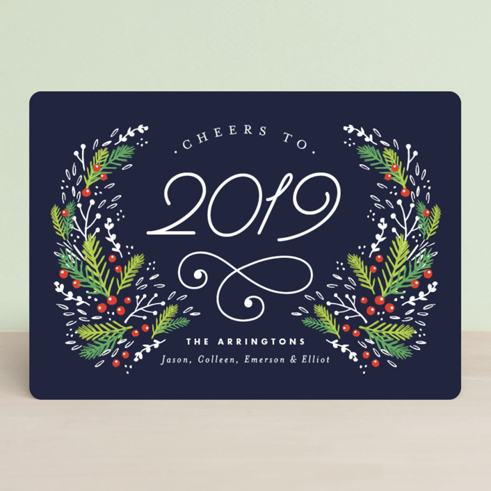 """Festive Foliage"" - Holiday Cards in Midnight by Kristie Kern."