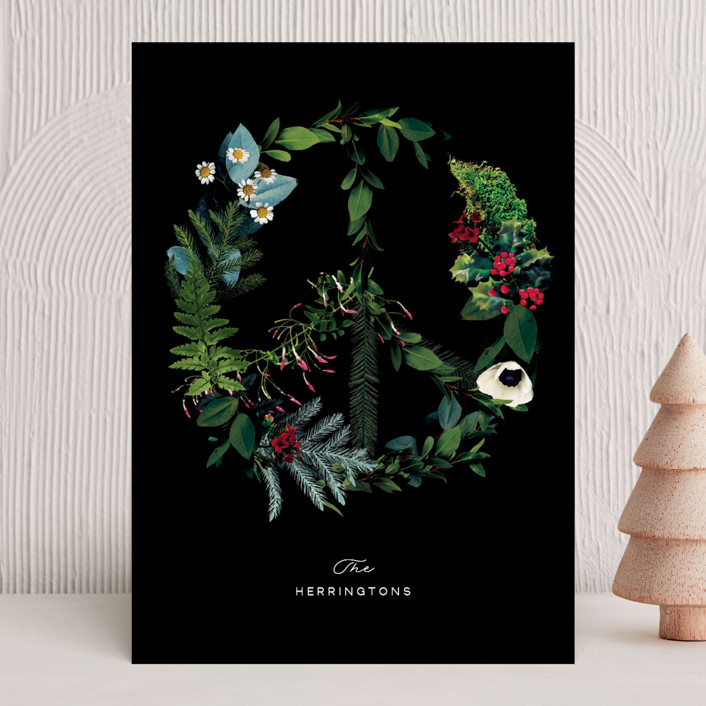 """""""Floral Peace"""" - Bohemian Holiday Cards in Snow by Baumbirdy."""