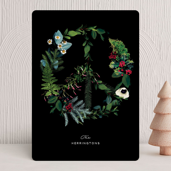 """Floral Peace"" - Bohemian Holiday Cards in Onyx by Baumbirdy."
