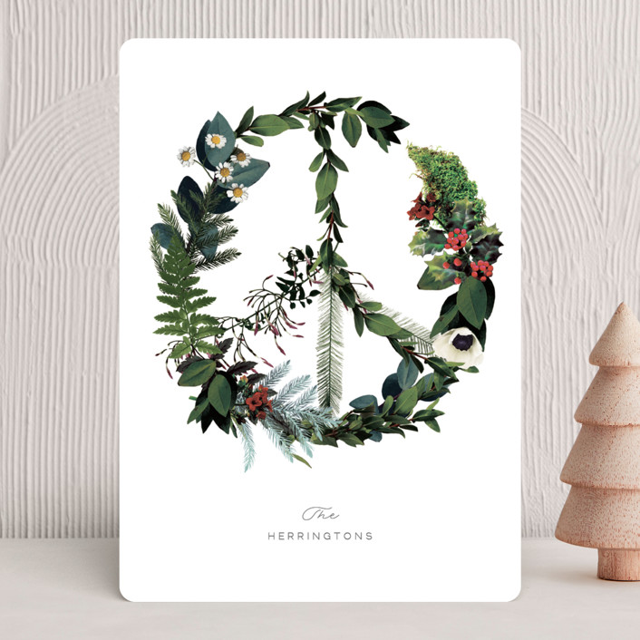 """Floral Peace"" - Holiday Cards in Onyx by Baumbirdy."