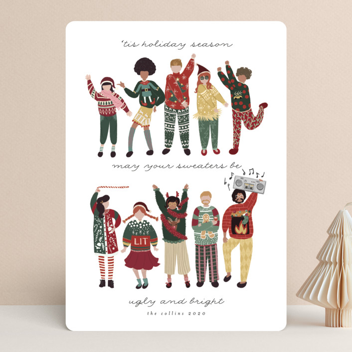 """""""Ugly Sweaters Club"""" - Funny Holiday Cards in Golden by Grae Sales."""