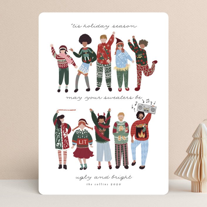 """""""Ugly Sweaters Club"""" - Funny Holiday Cards in Frost by Grae."""