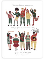 This is a yellow non photo holiday card by Grae Sales called Ugly Sweaters Club with standard printing on signature in standard.