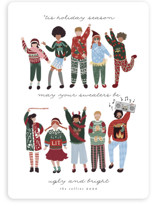 This is a blue non photo holiday card by Grae called Ugly Sweaters Club with standard printing on signature in standard.