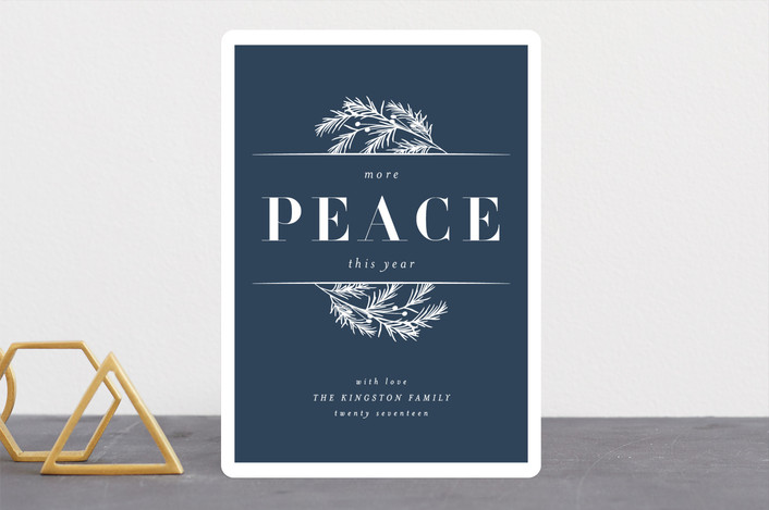 """More Peace"" - Holiday Cards in Celestial by Kate Ross."