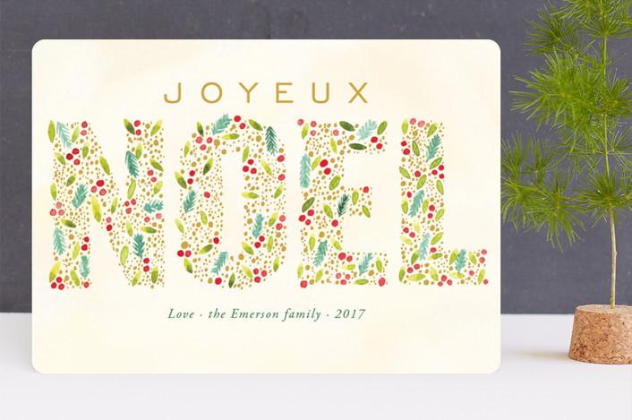 """Joyeux Noel"" - Holiday Cards in Citron by Alexandra Dzh."