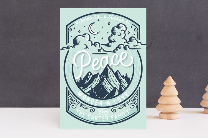 """Peaceful"" - Vintage Holiday Cards in Mist by GeekInk Design."
