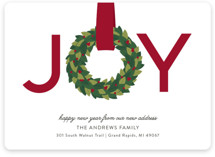 This is a red non photo holiday card by Sarah Brown called Joy Wreath with standard printing on signature in standard.