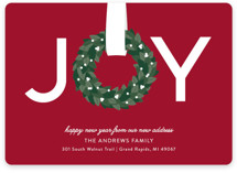 This is a green non photo holiday card by Sarah Brown called Joy Wreath with standard printing on signature in standard.