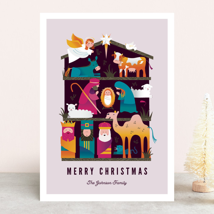 """Nativity Party"" - Holiday Cards in Sugar Plum by Katie Zimpel."