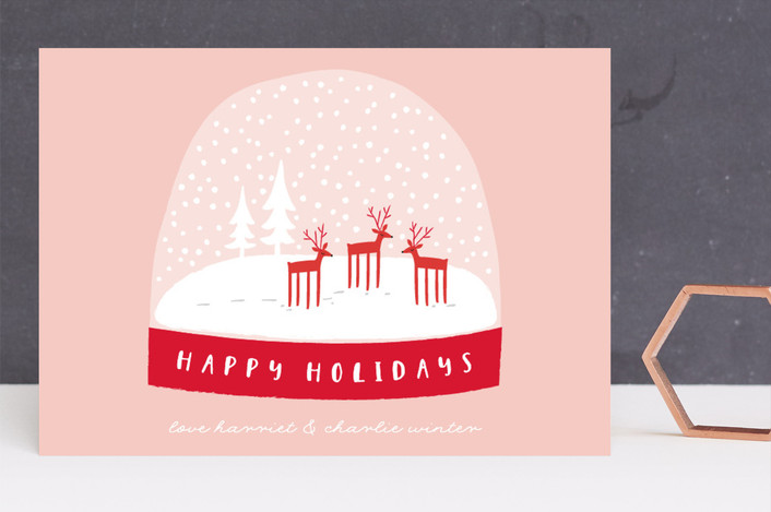 """Let It Snow Globe"" - Modern Holiday Cards in Blush by Angela Thompson."