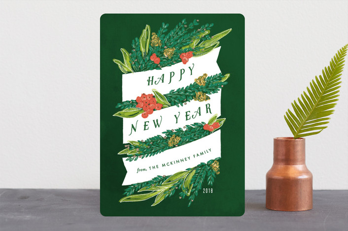 """Sketched Banner and Greenery"" - Holiday Cards in Emerald by Shiny Penny Studio."