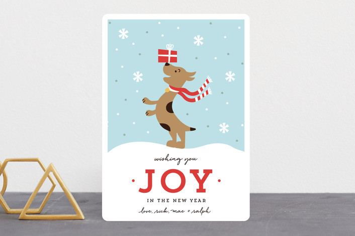 """Joyful Pup"" - Holiday Cards in Berry by merry mack creative."