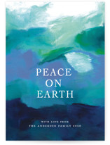 This is a blue non photo holiday card by Jenny Partrite called Peaceful Earth with standard printing on signature in standard.