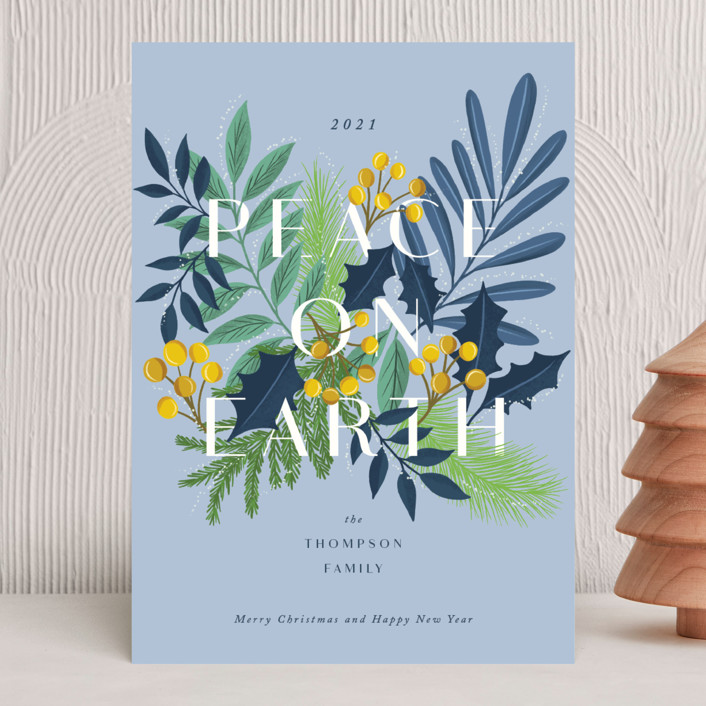 """""""Abundant peace on earth"""" - Holiday Cards in Blue Bell by Yaling Hou Suzuki."""