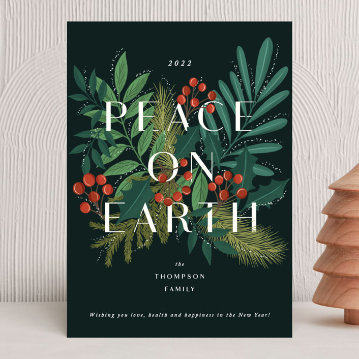 """Abundant peace on earth"" - Holiday Cards in Midnight by Yaling Hou Suzuki."