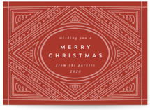 This is a red non photo holiday card by Katharine Watson called Flourish Frame with standard printing on signature in standard.