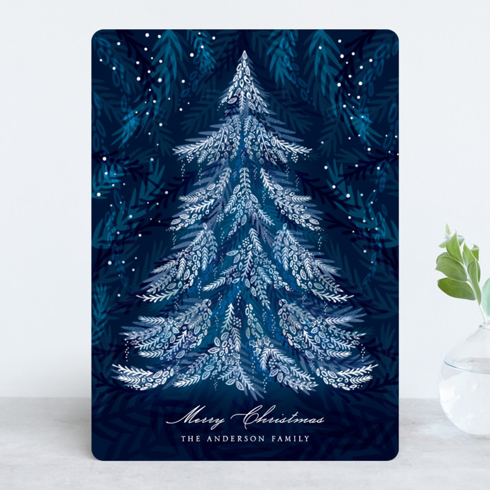 """Radiant Christmas"" - Holiday Cards in Midnight by Paper Sun Studio."