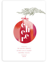This is a green non photo holiday card by Nazia Hyder called Cheerful Ornament with standard printing on signature in standard.