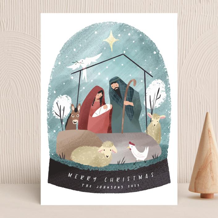 """Nativity Snow Globe"" - Bohemian Holiday Cards in Sky by Grae."