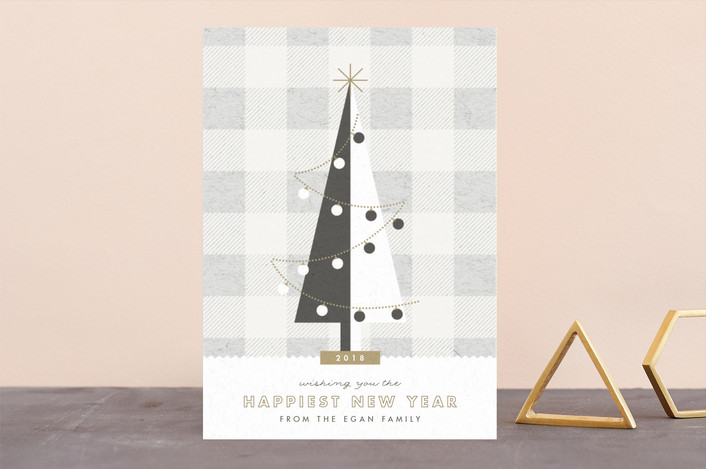 """""""gingham tree"""" - Holiday Cards in Wool by Carolyn Nicks."""
