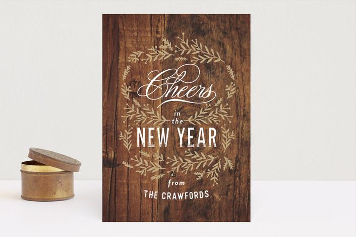 """Vintage Woodgrain"" - Vintage Holiday Cards in Caramel by Oscar & Emma."
