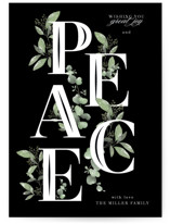This is a green non photo holiday card by Grace Kreinbrink called Vining Peace with standard printing on signature in standard.