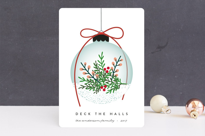 """Elegant Ornament"" - Holiday Cards in Holly Berry by Erica Krystek."
