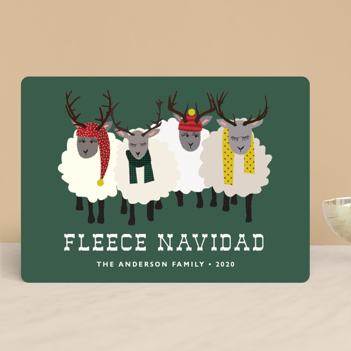"""""""Fleece Navidad"""" - Funny, Modern Holiday Cards in Forest by 24th and Dune."""