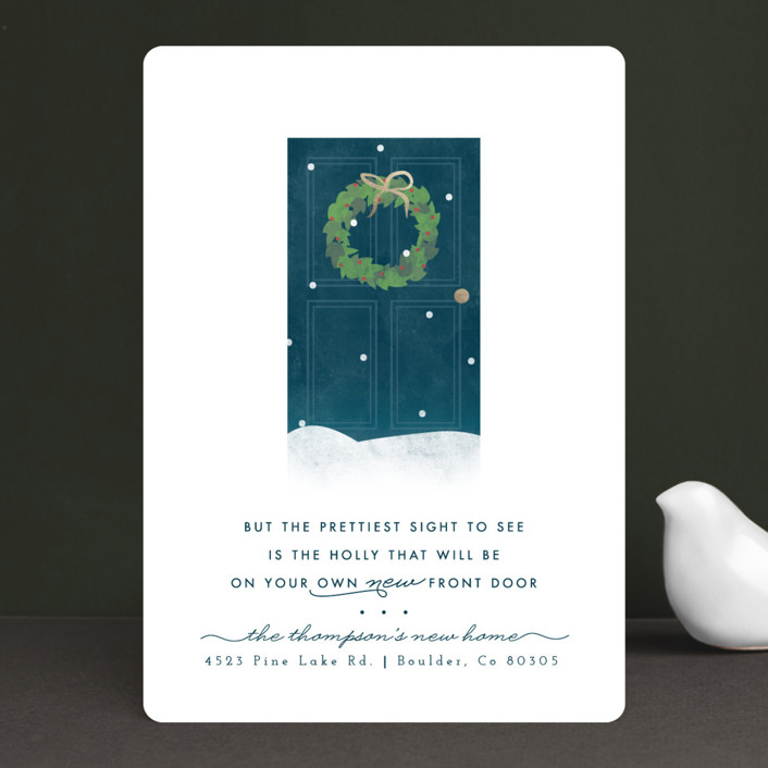 """New Door Holly"" - Holiday Cards in Winter Night by peony papeterie."