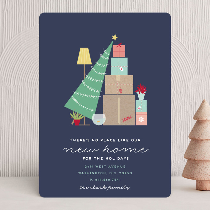 """On the Move"" - Holiday Cards in Navy by Bethan."