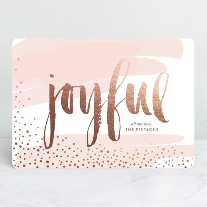 """Very Joyful"" - Bohemian Holiday Cards in Winter Rose by Erin Deegan."