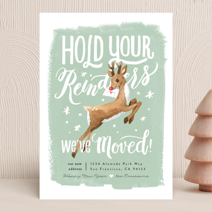 """Hold Your Reindeers"" - Funny, Vintage Holiday Cards in Pistachio by Four Wet Feet Studio."